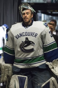 Mar 31, 2016; San Jose, CA, USA; Vancouver Canucks goalie Ryan Miller (30) walks into the locker room after defeating the San Jose Sharks, 4-2, at SAP Center at San Jose. Mandatory Credit: Kenny Karst-USA TODAY Sports