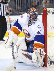 Dec 12, 2015; Columbus, OH, USA; New York Islanders goalie Jaroslav Halak (41) follows the puck in play in the second period against the Columbus Blue Jackets at Nationwide Arena. The Islanders won 3-2 in overtime. Mandatory Credit: Aaron Doster-USA TODAY Sports