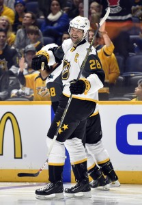 Jan 31, 2016; Nashville, TN, USA; Pacific Division forward John Scott (28) of the Montreal Canadiens celebrates after a goal during the 2016 NHL All Star Game at Bridgestone Arena. Mandatory Credit: Christopher Hanewinckel-USA TODAY Sports